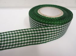 Forest dark Green 2 metres or full roll x 25mm Gingham Ribbon Double Sided check UK